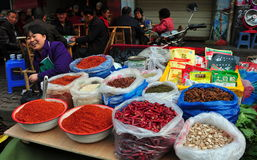 Pengzhou, China: Woman Selling Spices Stock Image
