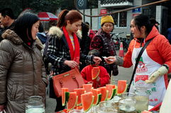 Pengzhou, China: Woman Selling Watermelon Royalty Free Stock Photography