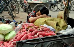 Pengzhou, China: Woman Sleeping at Market. A tired woman taking a nap during a lull in business seated next to her small bicycle cart filled with green cabbage stock image