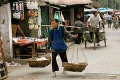 Pengzhou, China: Woman Street Seller Stock Photography
