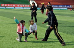Pengzhou, China: Woman Teaching Tai 'Chi to Children Royalty Free Stock Photo
