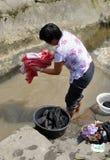 Pengzhou, China: Woman Washing Clothes Stock Images