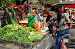 Pengzhou, China: Women Buying Green Beans Stock Photos