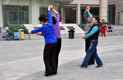 Pengzhou, China: Women Dancing Royalty Free Stock Image