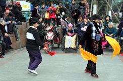 Pengzhou, China: Women Dancing in New Square Royalty Free Stock Photography