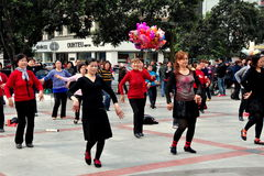 Pengzhou, China: Women Dancing in New Square Stock Images