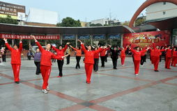 Pengzhou, China: Women Doing Tai 'Chi Stock Image