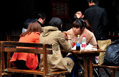 Pengzhou, China: Women Eating Lunch Stock Images