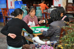 Pengzhou, China:  Women Playing Mahjong Royalty Free Stock Photography