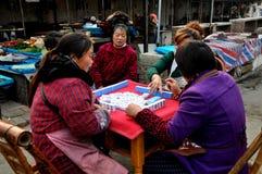 Pengzhou, China: Women Playing Mahjong Royalty Free Stock Photography