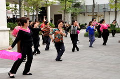 Pengzhou, China: Women Practise Dance Routine Stock Photography