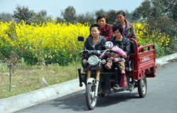 Pengzhou, China: Women Riding in Cart Royalty Free Stock Images