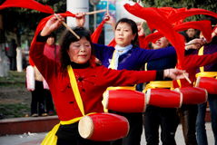 Pengzhou, China: Women's Waist Drum Band Stock Image