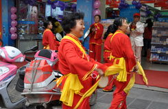 Pengzhou, China: Women's Waist Drum Band Stock Photography
