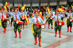Pengzhou, China: Women's Waist Drum Band Royalty Free Stock Image