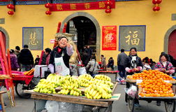 Pengzhou China: Women Selling Fruit Stock Photography