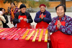 Pengzhou, China: Women Selling Incense Royalty Free Stock Photography