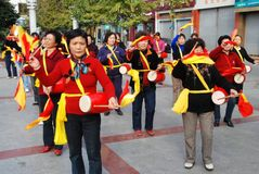 Pengzhou, China: Womens' Waist Drum Band Stock Photography