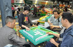 Pengzhou, China: Workers Playing Mahjong Royalty Free Stock Images