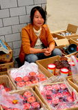 Pengzhou, China: Young Woman Selling Mooncakes Stock Photos