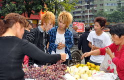 Pengzhou, China: Youths with Dyed Blond Hair Royalty Free Stock Images