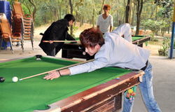 Pengzhou, China: Youths Playing Pool Stock Image