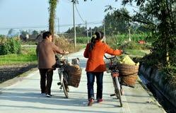 Pengzhou, China: Zwei Frauen-gehende Fahrräder Lizenzfreie Stockfotografie