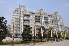 Pengzhou, Chine : Appartements modernes élevés Images libres de droits
