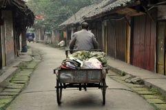 Pengzhou, Chine : Homme dans le chariot de bicyclette sur Hua Lu Images stock