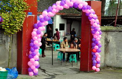 Pengzhou, Chiny: Ślubny lunch przy kraju gospodarstwem rolnym Obrazy Royalty Free