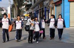 Pengzhou, Cina: Allievi della High School Fotografie Stock Libere da Diritti