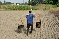 Pengzhou, Cina: Coltivatore con i secchi dell'acqua Immagini Stock