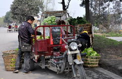Pengzhou, Cina: Coltivatori che caricano prodotti Immagine Stock