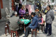 Pengzhou, Cina: La gente che gioca Mahjong Fotografia Stock Libera da Diritti