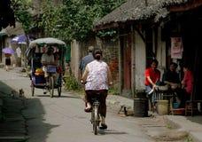 Pengzhou, Cina: Vista lungo Hua LU Fotografia Stock