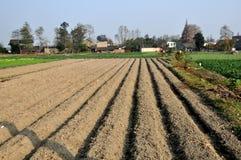 Pengzhou Kina: Nyligen plogade fält på den Sichuan lantgården Arkivfoton