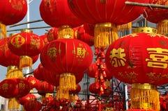 Pengzhou Kina: Röda kinesiska lyktor Royaltyfria Foton