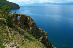 Penhasco com furo, Baikal Foto de Stock Royalty Free