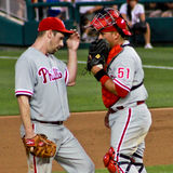 Penhasco Lee e Carlos Ruiz Philadelphfia Phillies Imagem de Stock Royalty Free