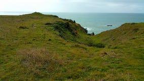 Penhasco minimalista do campo que conduz ao oceano distante Fotos de Stock