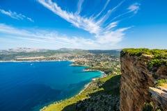 Penhasco na baía do ` Azur da costa d Imagem de Stock