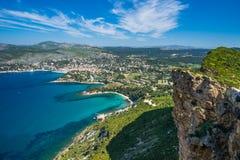 Penhasco na baía do ` Azur da costa d Fotografia de Stock