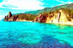 Penhascos íngremes na costa de um lago da montanha ilustração royalty free