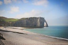 Penhascos brancos perto de Etretat, Normandy, França Imagens de Stock