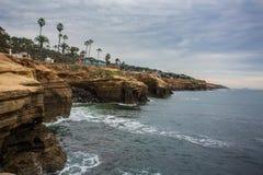 Penhascos Califórnia do sul do por do sol fotografia de stock royalty free