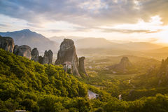 Penhascos da rocha de Meteora Grécia fotos de stock