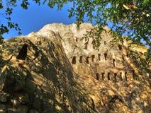 Penhascos de Eagles, santuário de Thracian, montanhas de Rhodope, Bulgária fotos de stock royalty free