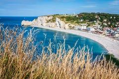 Penhascos de Etretat, Normandy, França Foto de Stock Royalty Free