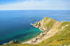 Penhascos de giz no d'Albatre da costa Etretat Fotografia de Stock Royalty Free