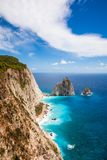 Penhascos de Keri na ilha de Zakynthos Zante em Grécia fotografia de stock